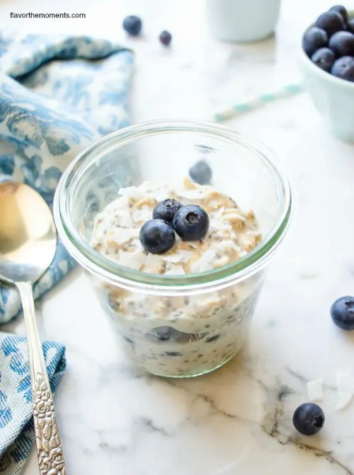 blueberry chia overnight oats - flavor the moments