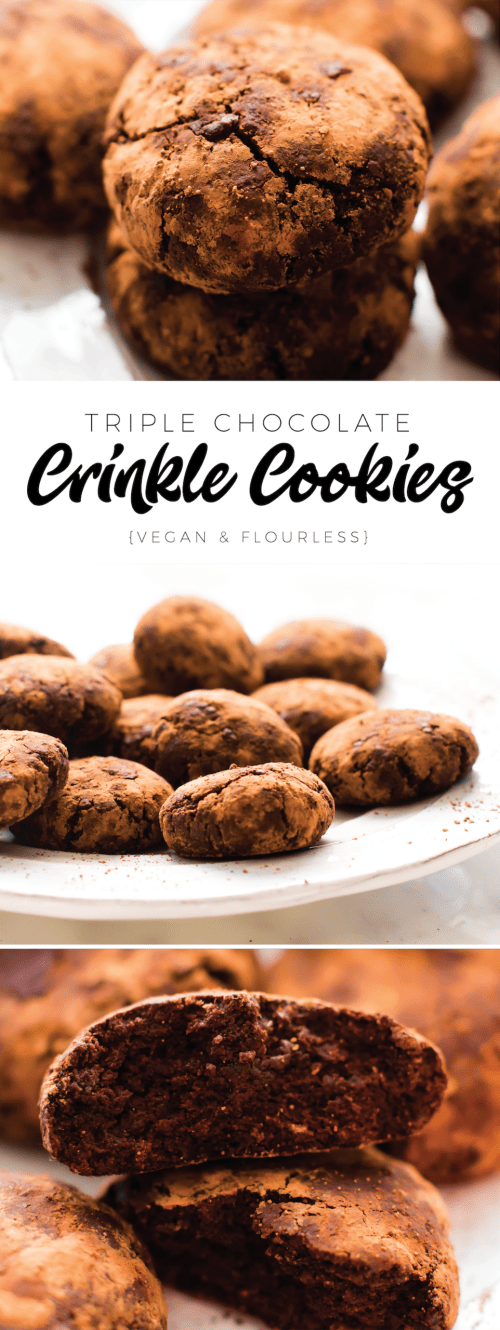 Triple Chocolate Flourless Crinkle Cookies