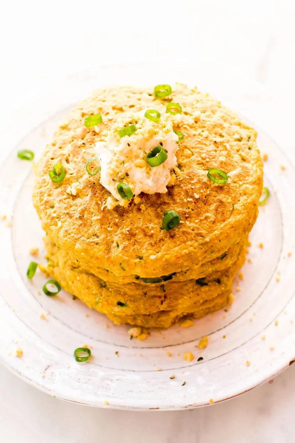 Zucchini Cornmeal Savory Pancakes {vegan, gluten-free, oil-free}