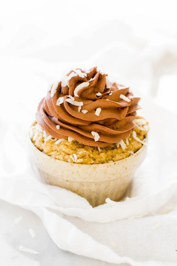 Banana Coconut Cupcake with Whipped Chocolate Frosting