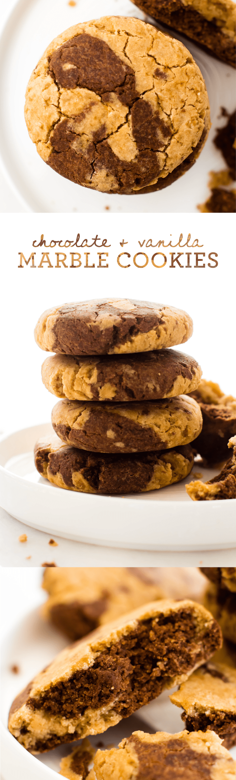 With two kinds of cookie in every bite, these Chocolate Vanilla Marble Cookies are swirly soft-baked snacking at it's sweetest! Vegan, gluten-free, oil-free.