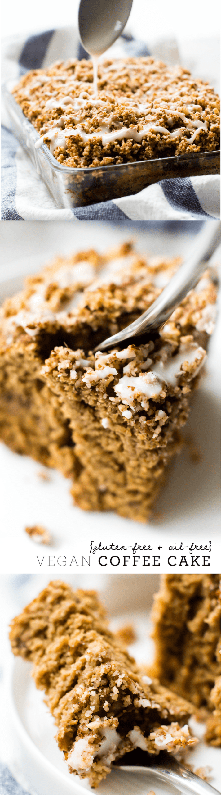 Moist fluffy oat flour cake with two layers of cinnamon streusel and a silky glaze on top--this Vegan Coffee Cake is a delectable baked morning treat!