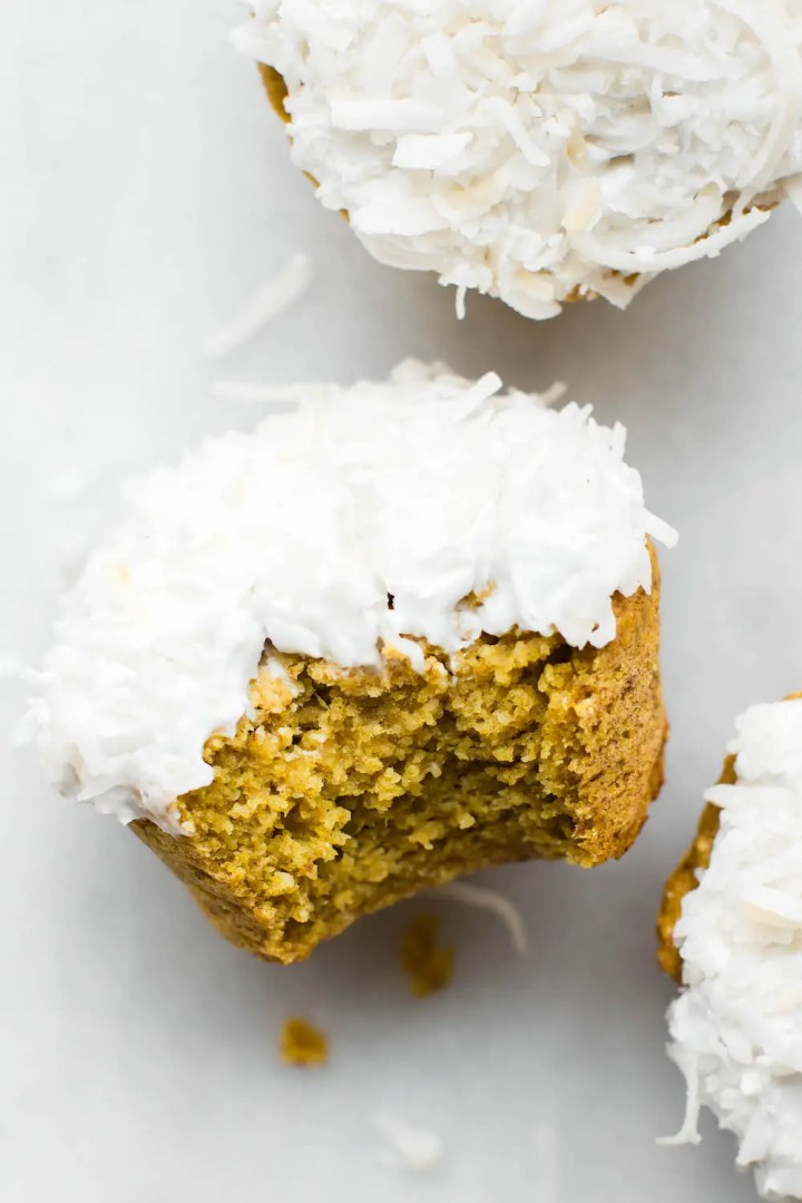 Pineapple Turmeric Cupcakes with Coconut Frosting