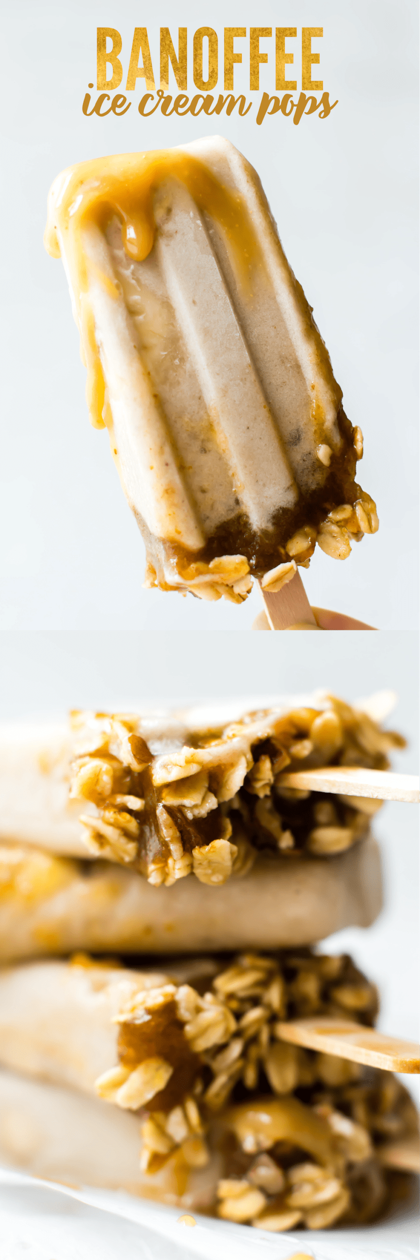 Pie turns popsicle with these Banoffee Ice Cream Pops featuring banana ice cream and homemade healthy