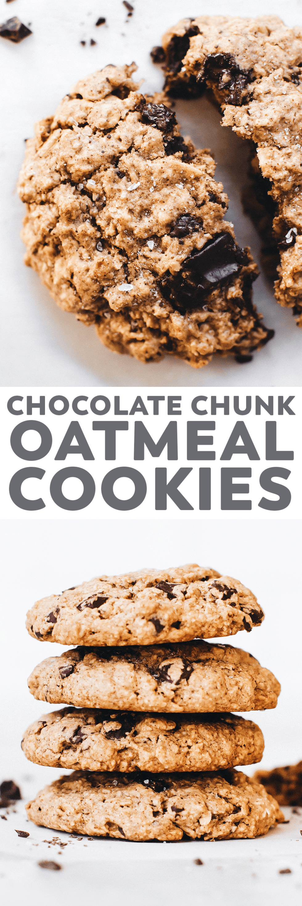 Easy vegan oatmeal cookies studded with dark chocolate chunks and the perfect crunchy on the outside, tender on the inside texture! #vegan #glutenfree #oilfree #cookies #healthy #baking #recipe