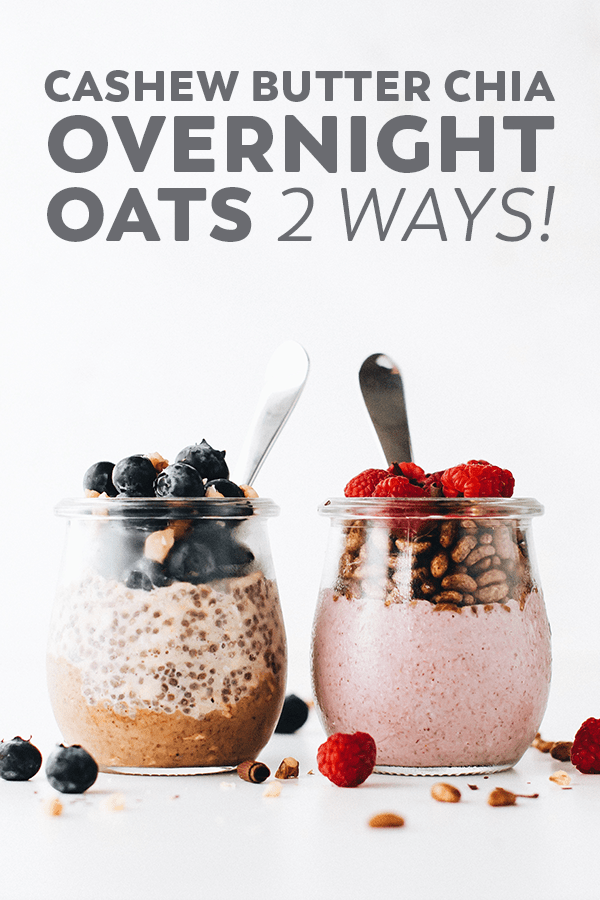 Perfect Chia Overnight Oats made with the yummiest ingredients and served chunky or creamy. An easy, healthy breakfast with only 5 minutes of prep! #vegan #glutenfree #healthy #mealprep #easyrecipe #healthy #breakfast #snack #plantbased