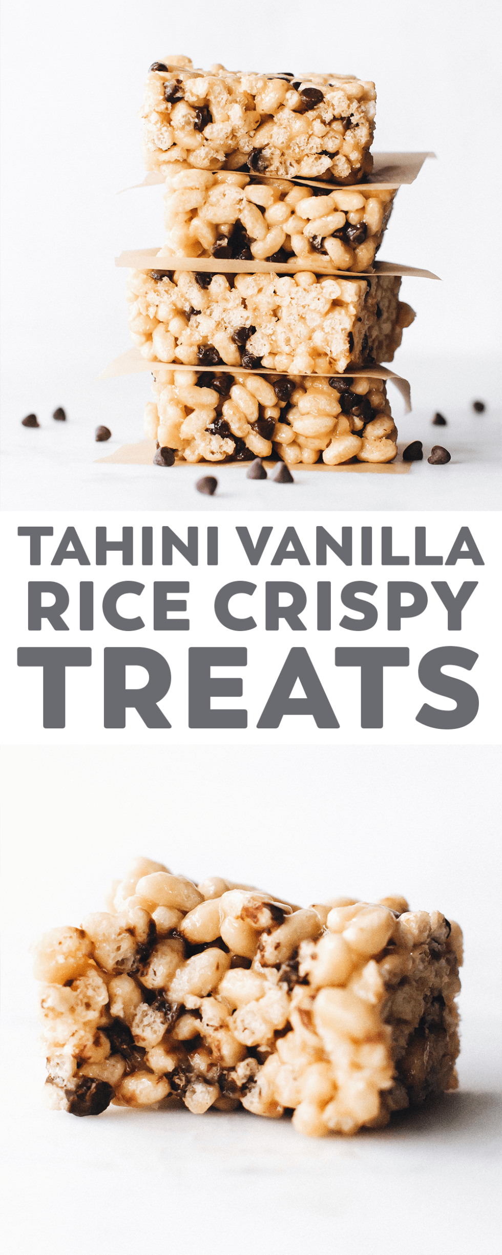 Vanilla Tahini Rice Crispy Treats – a twist on the cereal snack favorite with savory tahini, sweet vanilla, a pinch of salt, and a yummy sprinkling of chocolate chips! #vegan #glutenfree #easyrecipe #snack #chocolate #NielsenMasseyPartner