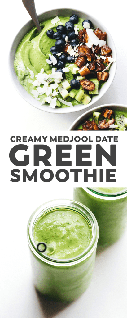 Creamy Medjool Date Green Smoothie Bowl