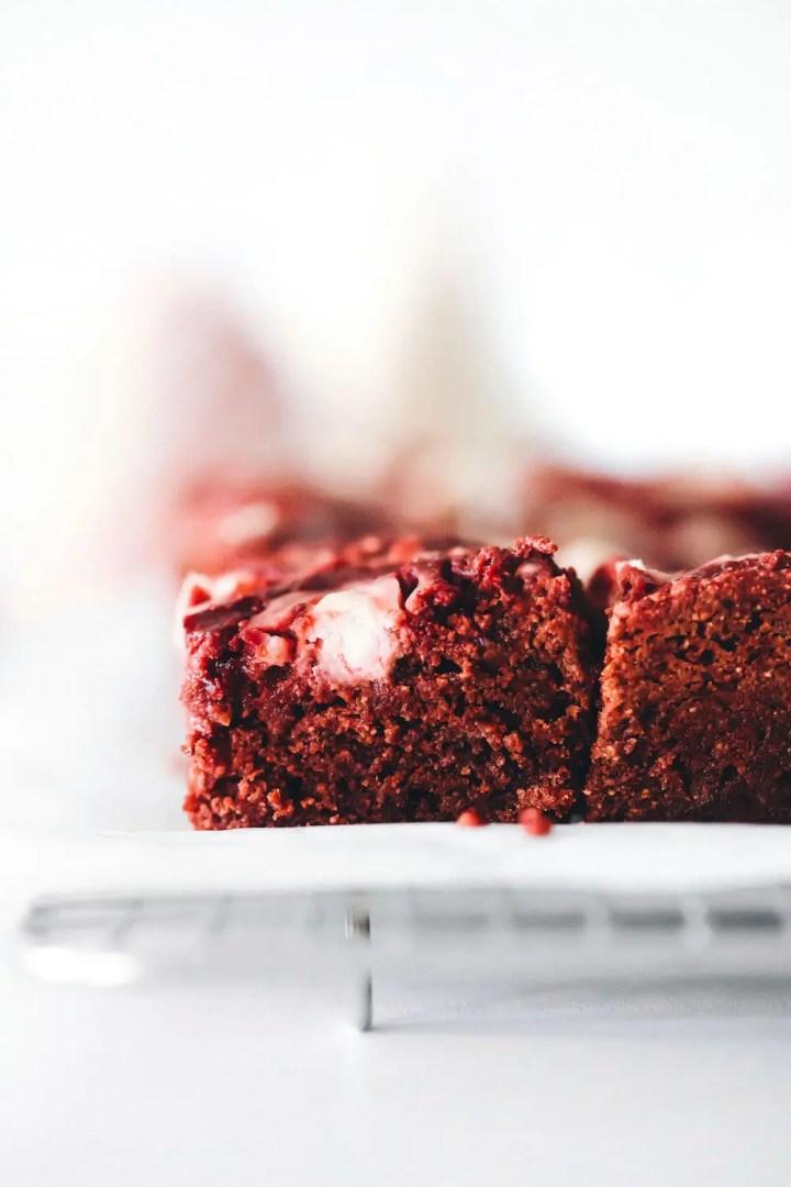 Red Velvet Cheesecake Brownies (vegan + gluten-free)
