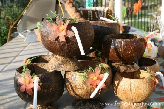 Coconut drinks cups for luau birthday party