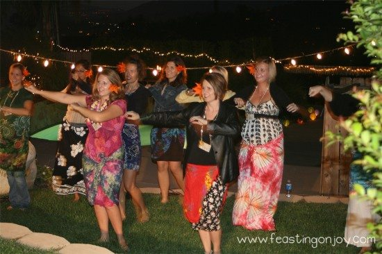 Us girls doing the hula at my luau birthday party