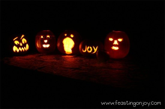 Carved Pumpkins in the dark