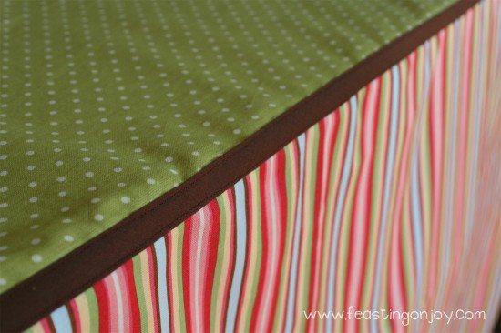 Close up of cloth covered book shelf