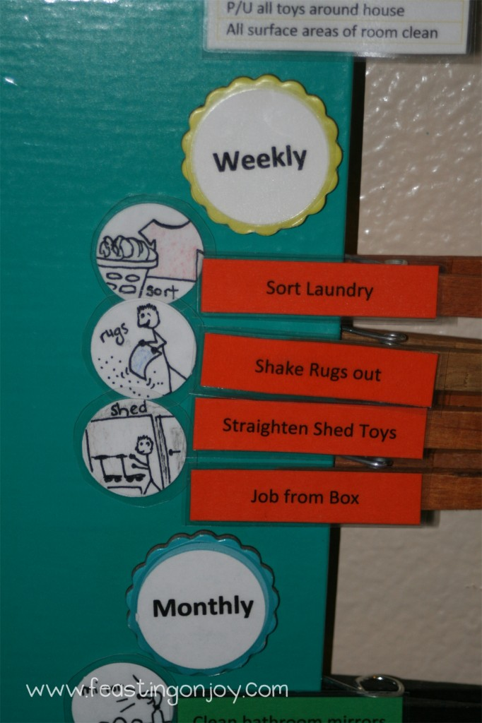 Close Up of magnetic chore chart