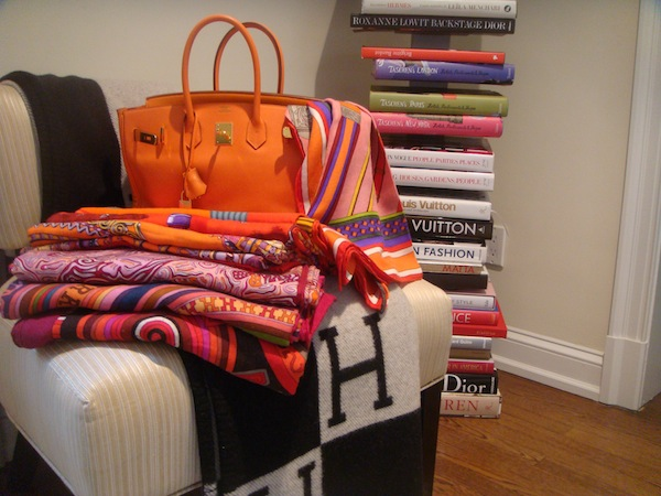 Orange swift Birkin with favorite shawls