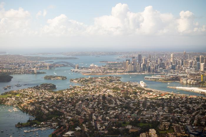Qantas A380 First Class Sydney View