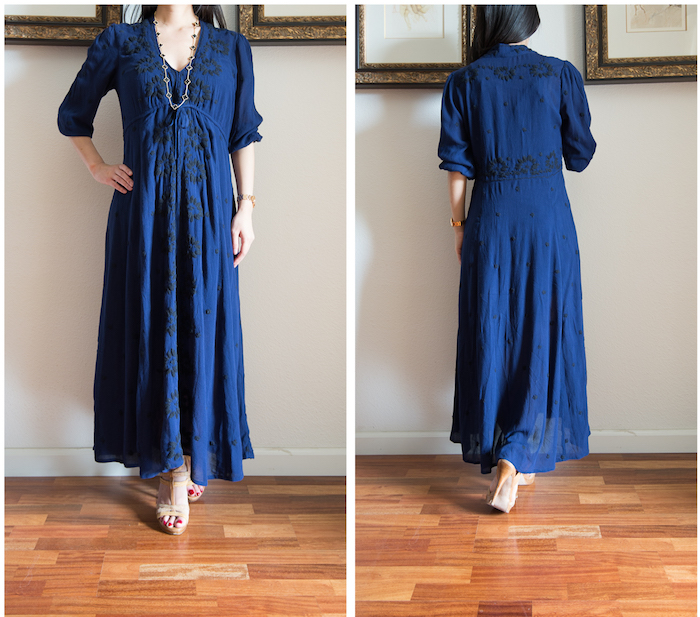 Free People Embroidered Maxi Dress Back