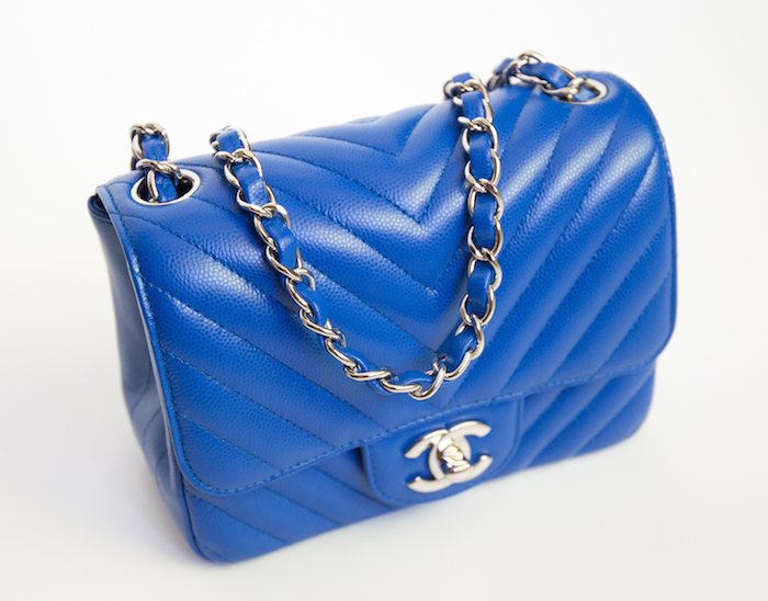 Chanel Mini Chevron Bleu
