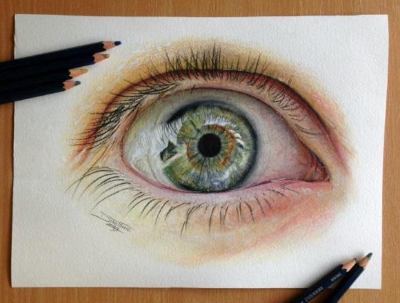 Dino Tomic – Eye Color Pencil Drawing Study | Feather Of Me