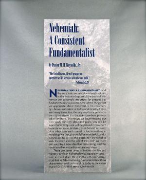 Nehemiah: A Consistent Fundamentalist