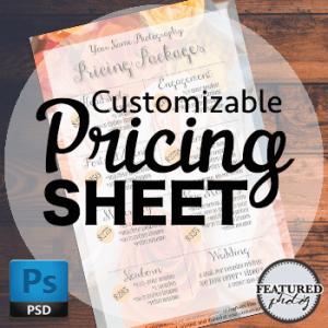 Customizable Pricing Sheet