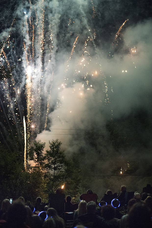 Crowds watch fireworks on the Fourth of July