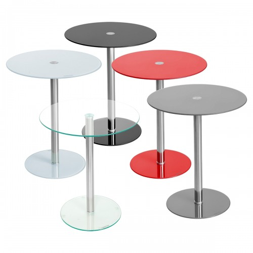 round glass top podium side table