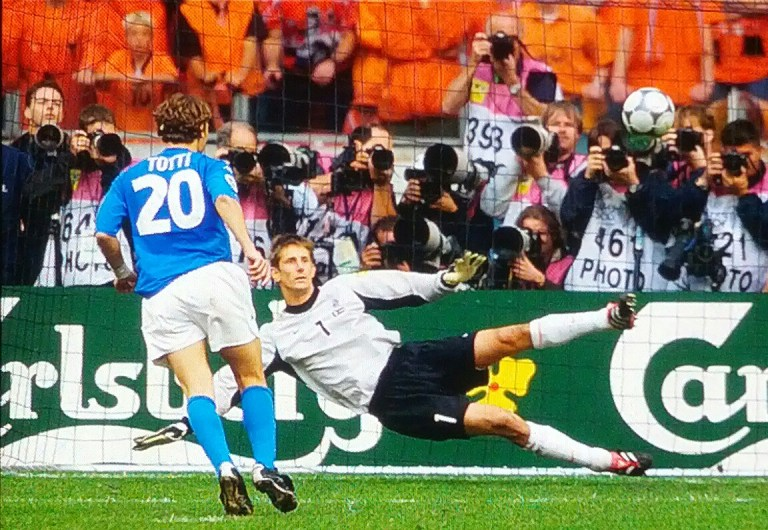 Totti and his trademark 'cucchiaio' against Dutch keeper Edwin van der Sar.