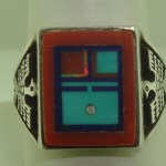NATIVE AMEARICAN SIGNED NAVAJO WILBERT MANNING STERLING SILVER INLAY RING! SZ12