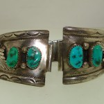 VINTAGE NATIVE AMERICAN DETAILED STERLING TURQUOISE WATCH ENDS! SIGNED J. TSO
