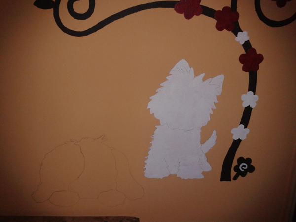 completamento dei fiori e silhouette del primo cagnolino