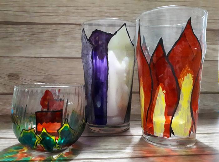 Portacandele in vetro riciclato