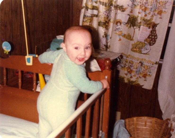 Clare in crib