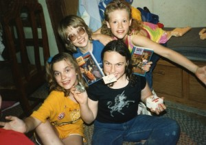 Clare with friends 11th birthday 1989