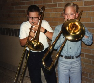 Rob and friend play trombone 1990