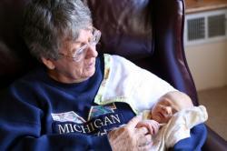 Grandma Felty holds Spencer