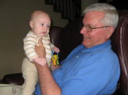 Spencer playing with his keys and his grandpa