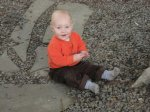 Spencer investigates the rocks