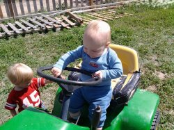 Spencer enjoyed playing with the tractor