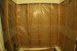 4 mil plastic sheeting behind cement board as vapor barrier