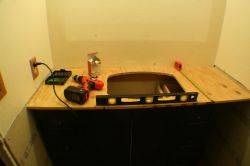 Installing plywood onto vanity