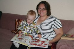 Spencer and Clare reading Trucks and Cars and Things That Go