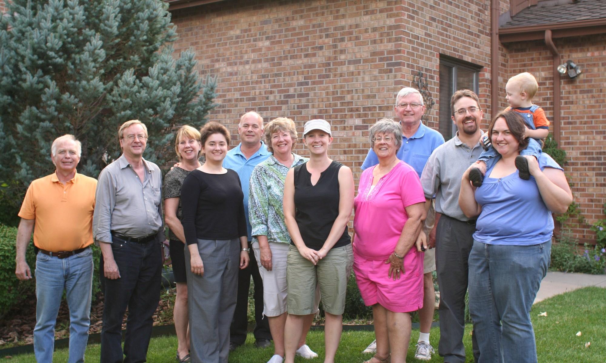 Goold Family reunion - Phil, Bud, Nancy, Stephanie, Jack, Betty, Melissa, Fran, Harold, Rob, Clare, and Spencer
