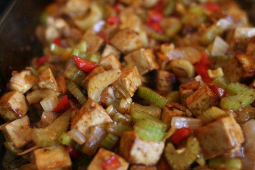 Close-up of barbecued tofu