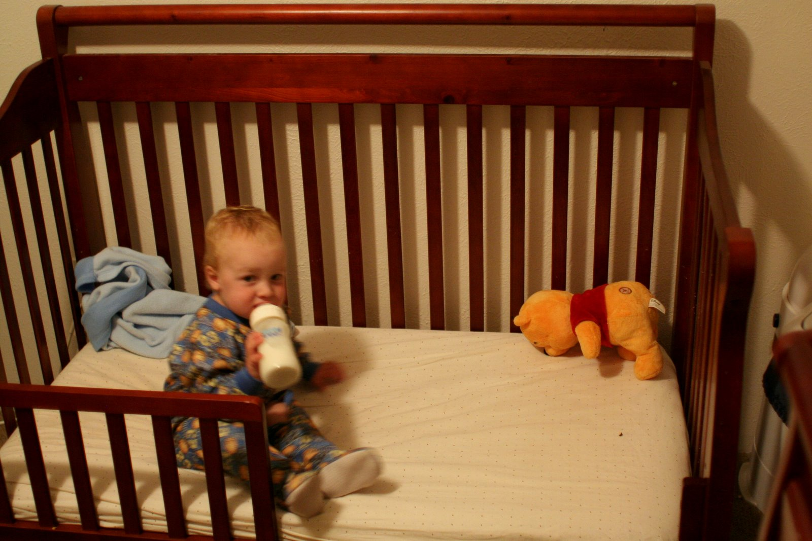 Spencer in his toddler bed
