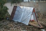 Side view of chicken coop with plastic sheeting for winter