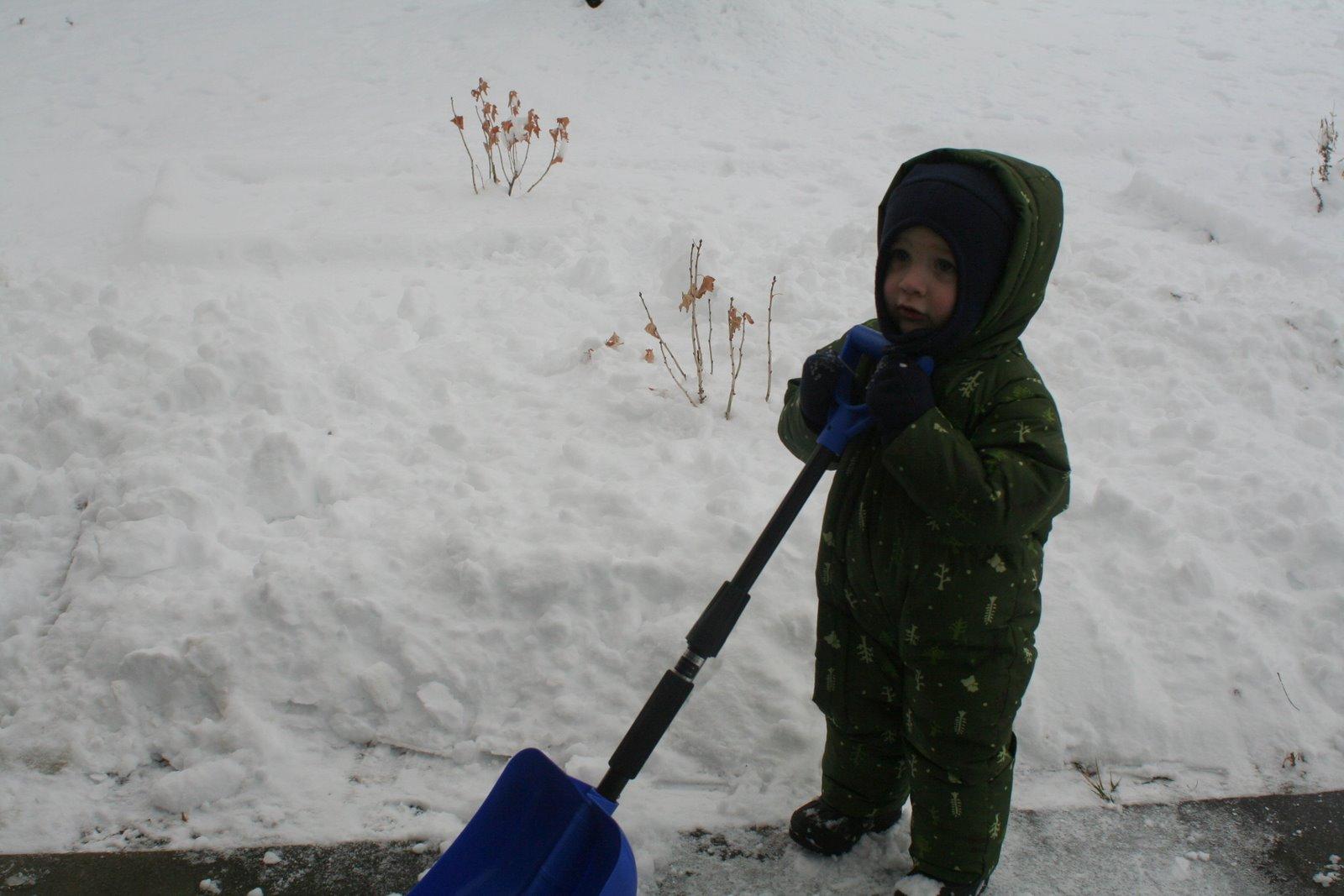 Spencer likes to shovel