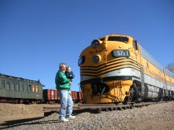 Spencer and Dave by the Rio Grande at the train museum