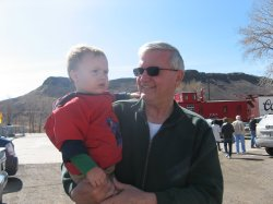 Harold holds Spencer at the railroad museum
