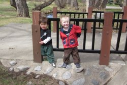 Spencer and Tao hanging out by Ralston Creek